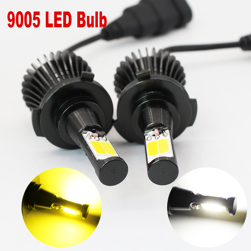 9005 9006 LED Fog Lamp H1 H3 H11 H7 880 881 Bulbs 21W COB chips White  Amber/Yellow Dual Color switch Car Auto Fog Driving Lights