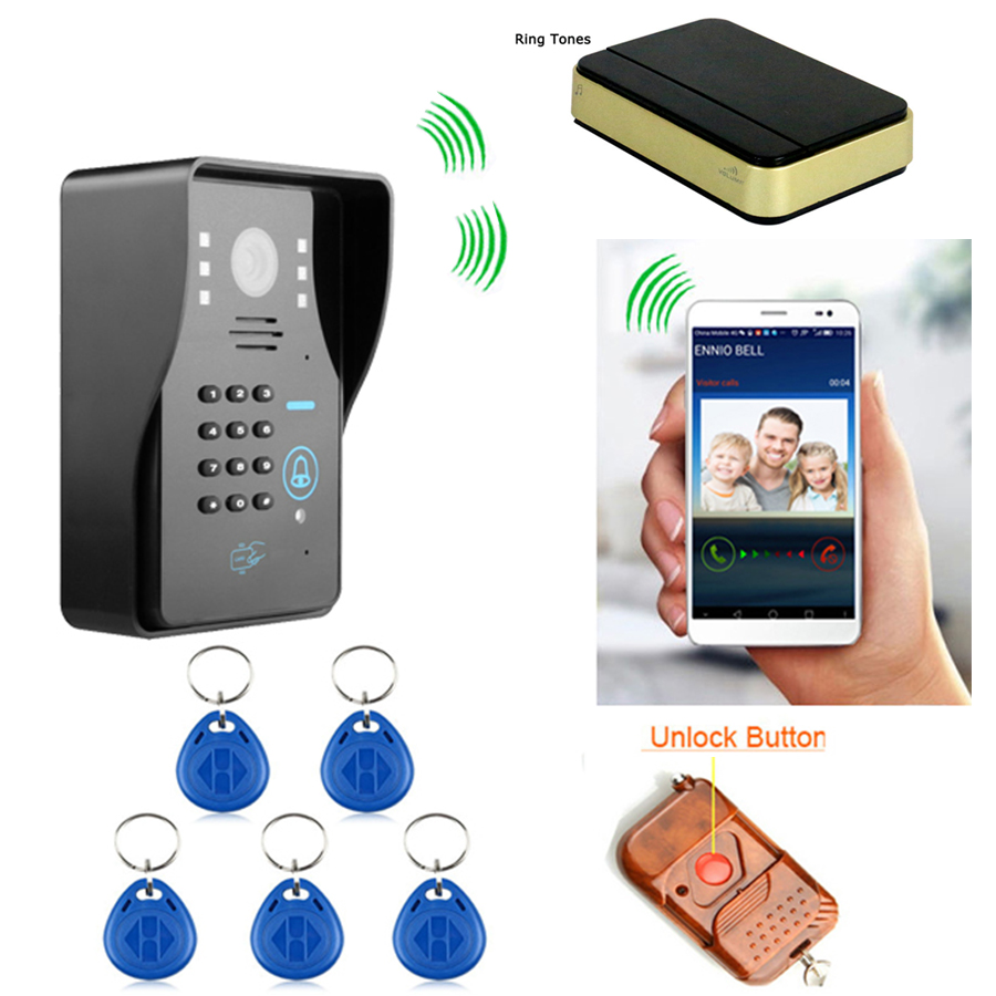 Wireless WIFI video Door Phone Doorbell Intercom + Mini Ring Tones by ID card /Password / Remote unlock visual intercom