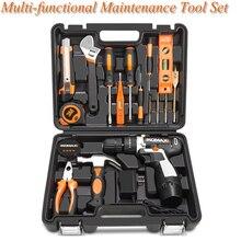 Бытовой ручной набор инструментов и ударное сверление Многофункциональный Электрический ремонтный набор инструментов набор с ящиком для инструментов чехол для хранения гаечный ключ