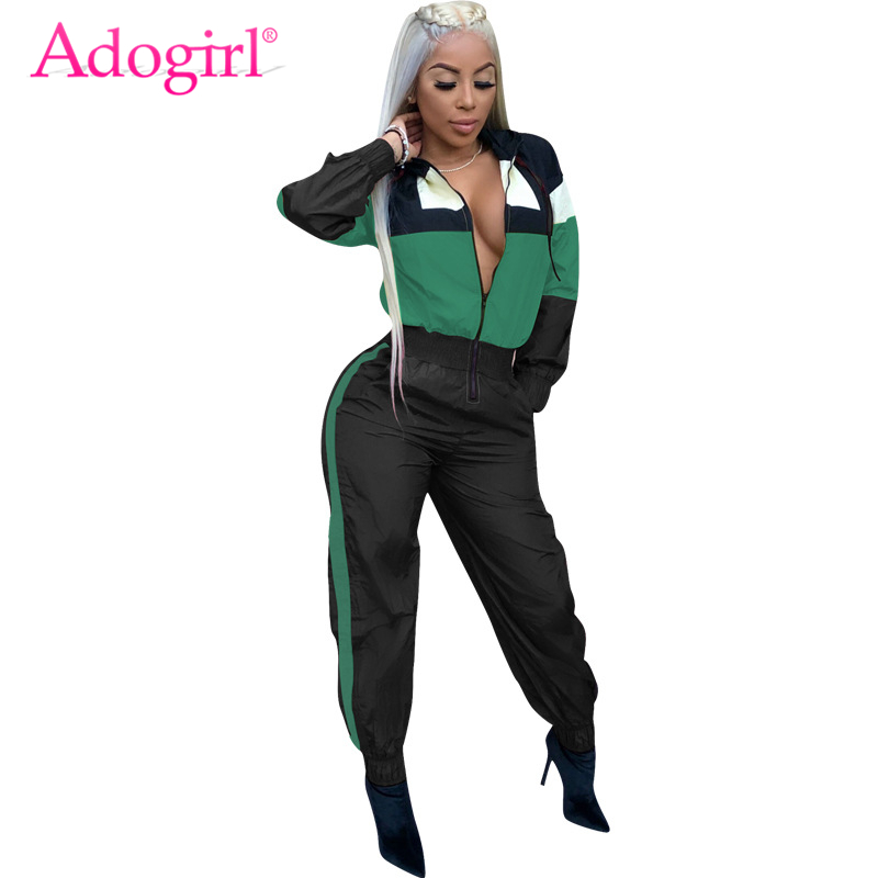 Adogirl Color Patchwork Hooded   Jumpsuit   Zipper Front Long Sleeve Casual Romper Women Tracksuit Streetwear Fashion Hoodies Jumper