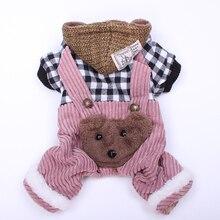 """Зима собака, кошка комбинезон с капюшоном в клетку с дизайном """"медведь"""" для питомцев щенком, куртка с принтом куртка с капюшоном теплая одежда"""