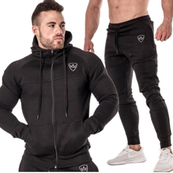 2 pieces Winter Running Set Long Sleeve Stand Collar Sweatshirt Sports Set Gym Clothes Men Sport Suit Training Suit Sport Wear