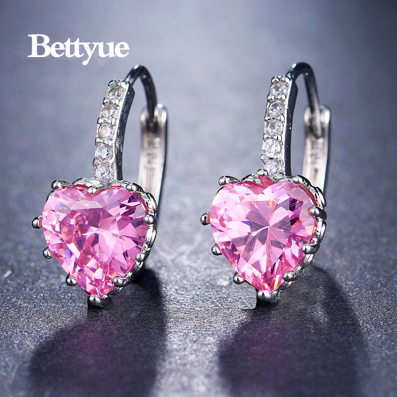 Bettyue Cute Earring Zircon Multicolor Elegant Hearts Shape Jewelry Fashion Trend Design Adorable For Women Party Choice 3