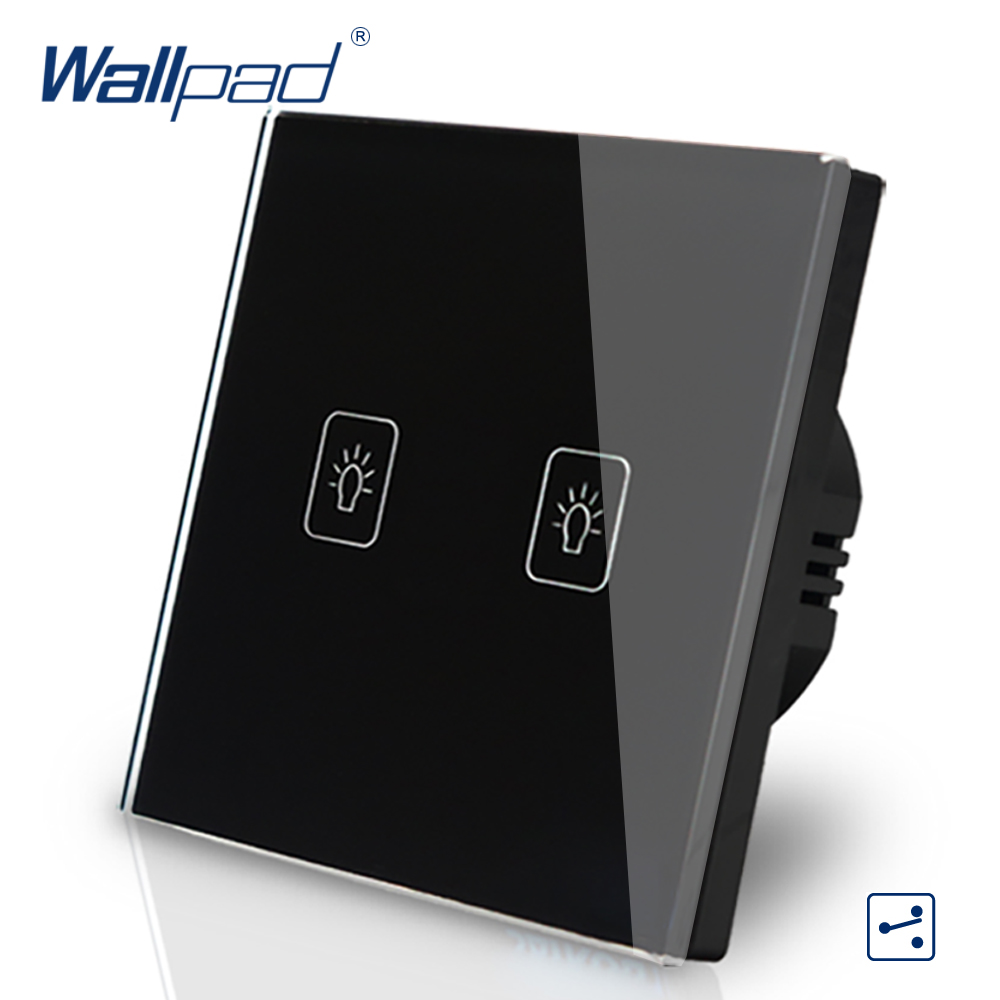 2 Gang 2 Way Intermediate Switch Wallpad Luxury Black Crystal Glass Wall Switch Touch Switch 110-250V European Standard evans v dooley j enterprise plus grammar pre intermediate