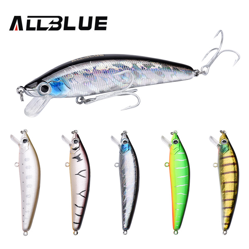 ALLBLUE 5pc/lot Floating Fishing Lure Minnow Wobbler 95mm/14.2g Bass Bait 3D Eyes Plastic Lure For Fishing Isca Artificial Peche allblue new mag drive longcast wobbler 17 5g 110mm suspend minnow pike bass fishing lure with 6 hook peche isca artificial