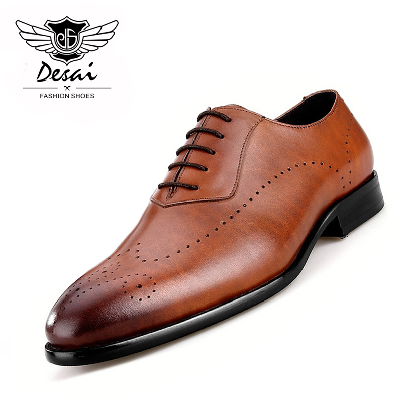 Mens Brock Carved Genuine Leather Shoes Business British Style Causal Men Pointed Toe Brogue Hand-carved Comfortable Shoe