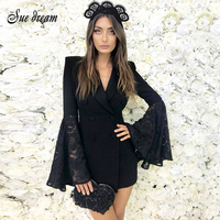 2018 Summer New Women Dress Flare Long Sleeve S V Neck Dress Sexy Bodycon Lace Celebrity