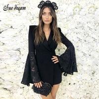 2018 Summer New Women Dress Flare Long Sleeve S V Neck Dress Sexy Bodycon Lace Celebrity