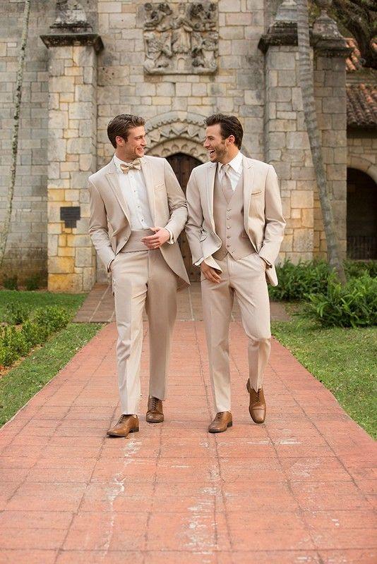 Latest Coat Pant Designs Beige Wedding Suits for Men Groomsmen ...