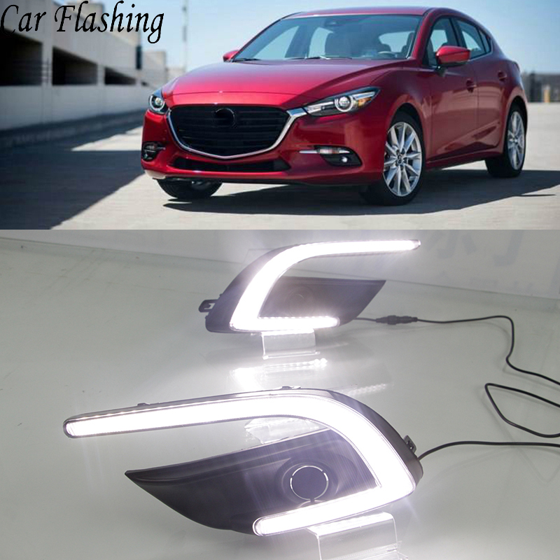 Car Flashing 1 Set DRL For Mazda 3 Mazda3 Axela 2017 2018 LED DRL Daytime Running Lights Daylight Fog light cover car styling-in Car Light Assembly from Automobiles & Motorcycles    1