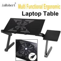 Многофункциональная эргономичная складная подставка для ноутбука поставляется с USB вентилятором и коврик для мыши портативный ноутбук Мес...