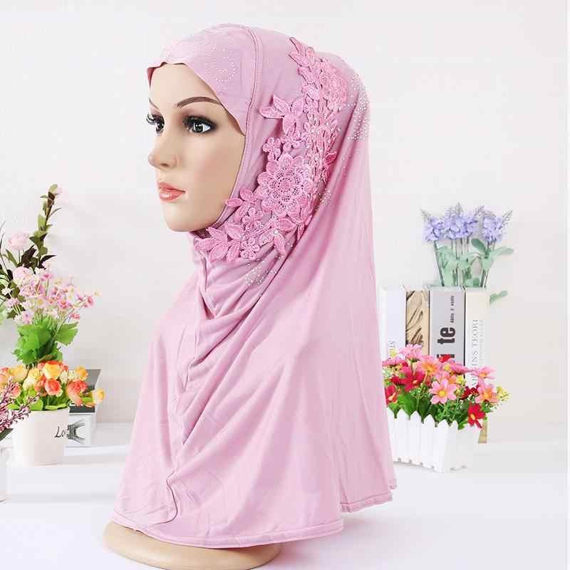 Оптовая продажа 2018 Новый хиджаб тюрбан с бриллианты цветок шапочки под хиджаб платок исламский головной платок 10 шт./партия