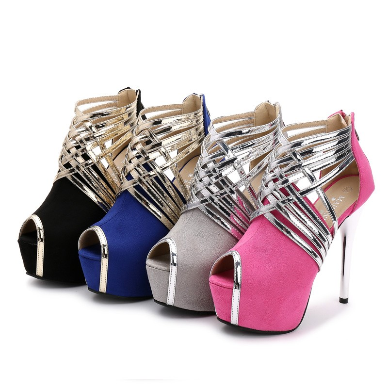 Big Size 34-44 Sexy Platform Lady's Open Toe Shoes 14cm Stiletto Heel Women Stage Prom Shoes Thin Heel Party/wedding Sandals 7