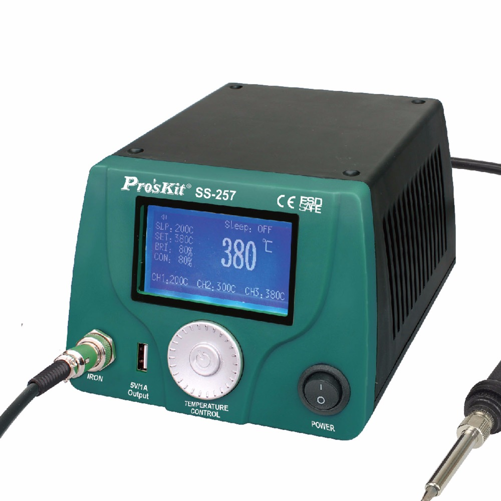 SS-257H Pro'sKit LCD Digital Intelligent Temperature Control Soldering Station Anti-Static LeadFree Maintenance Electric Welding