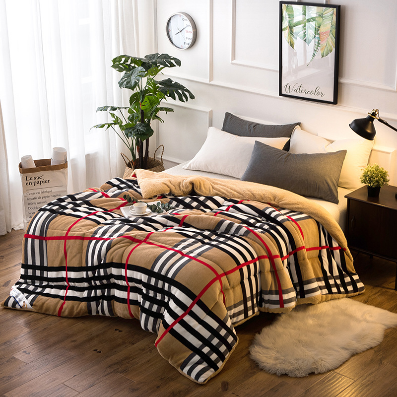 Flannel Warm Winter Wool Quilt Thicken Comforter/ Duvet/ Blanket Lamb Down Fabric Filling Bedding Set