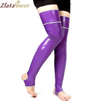 Latex Stockings Step Foot Latex Tights Unisex Purple Patchwork Colour Rubber Stockings Customize Service LA025