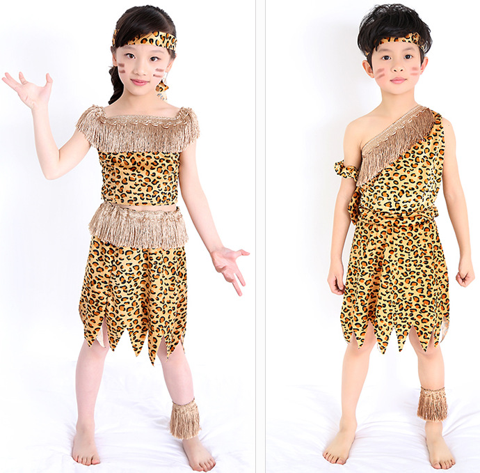 Adults Children Savages Costumes African Tribes Hunter Dance Costumes Indians Leopard Print Clothing Toddler Cartoon Animal Wear