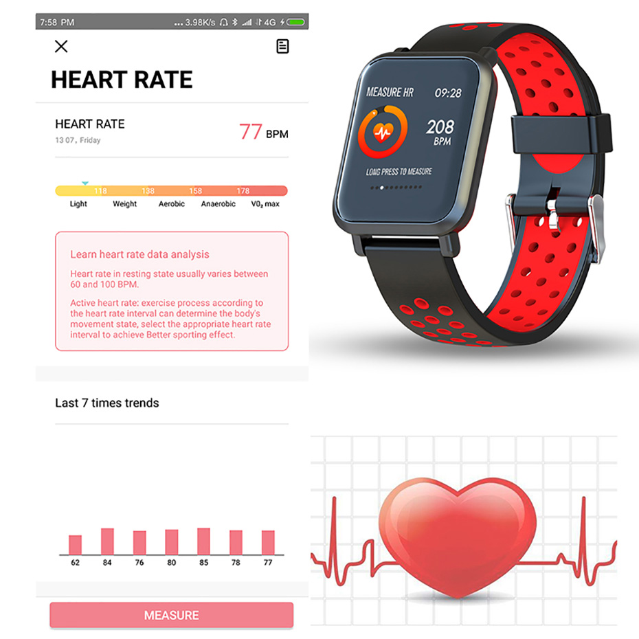 Men Tempered glass Fitness Tracker Blood pressure Waterproof Women Smartwatch 1