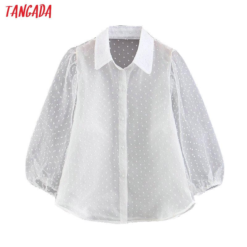 Tangada Women White Chiffon Blouse Transparent Long Sleeve Turn Down Collar Female Oversized Shirts Stylish Ladies Tops SL364