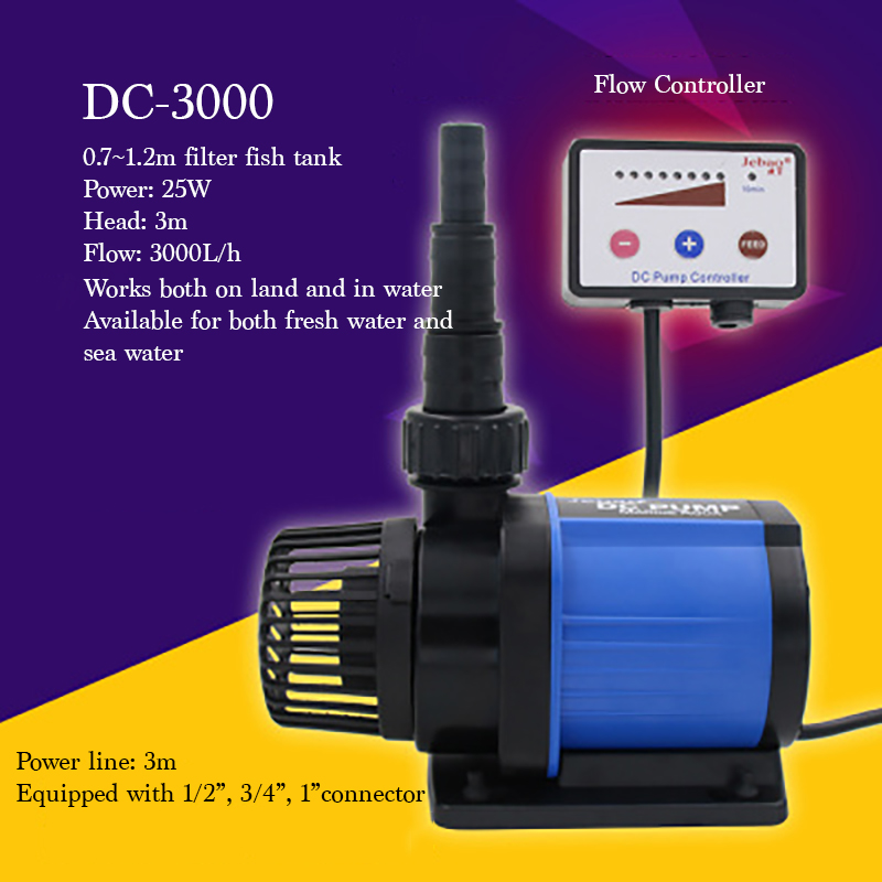 DC-3000 25W Quiet Electrical Aquarium Fish Tank Pump 3000L Salt/fresh Water Use Submersible Pump With Flow Controller dc def adblue pump kit with flow meter and nozzles