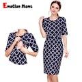 Эмоция мам Новый хлопковая одежда для беременных Вечерние платья для кормящих женщин Одежда для беременных для женщин Лето кормящих платье