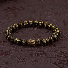 c35211ebbf83 Amader mujeres Retro tibetano cuentas de negro tallar Mantra Om Mani  amuleto pulsera hombres budista Vintage joyería de meditaci.