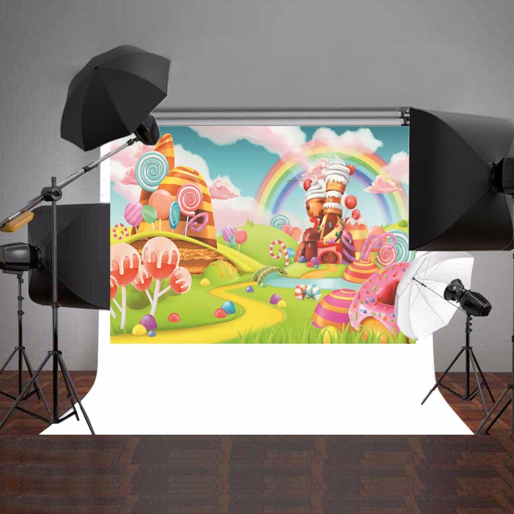 Cartoon Photography Background Children Photo Studio Props Baby Backdrops Rainbow Vinyl 7x5ft or 5x3ft JIEJP081 sjoloon brick wall photo background photography backdrops fond children photo vinyl achtergronden voor photo studio props 8x8ft