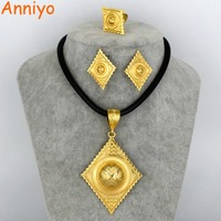 Anniyo Ethiopian Gold Color Jewelry Set Habesha Eritrean Big Pendant Rope Earrings Free Size Ring Women
