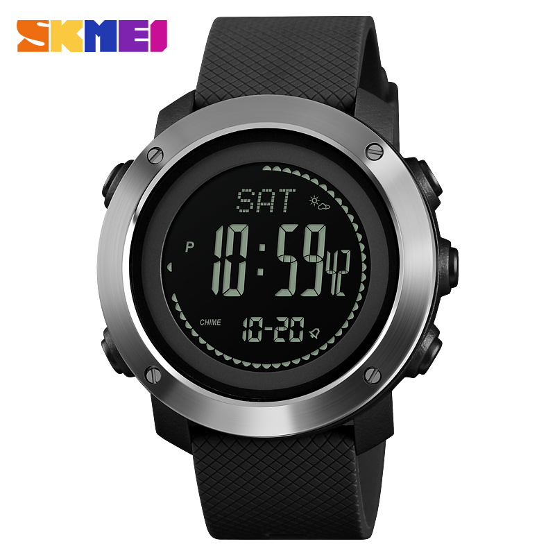 SKMEI Men Digital Watch Barometer Thermometer Compass Altimeter Sports Watches Men Hiking Wristwatches Montre Homme
