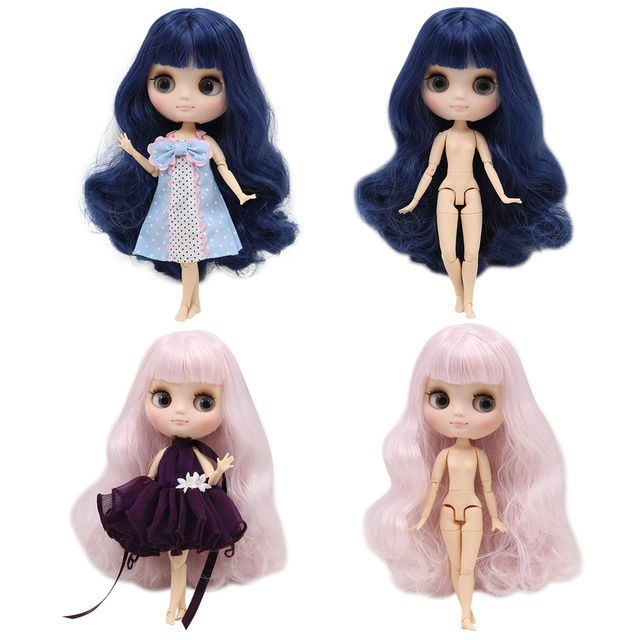 Middie blyth nude doll 20cm JOINT body Frosted face with makeup gray eyes DIY toys gift with gestures Free shipping