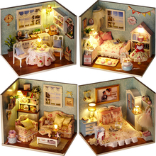 DIY Miniature Doll House Toys Model With Furniture Handmade Dollhouse Birthday Gift Toys For Children H007 H008 H009 H010 #E недорого