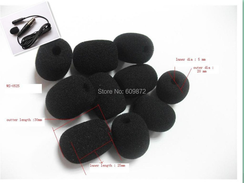 Foam Microphone Windscreens sponge covers 5mm opening and 25mm inner length10 pcs / lot Free shipping