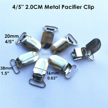 50pcs/lot 4/5'' 20mm Lead Free metal baby pacifier dummy chain holder clips suspender soother clips for 2.0cm ribbon