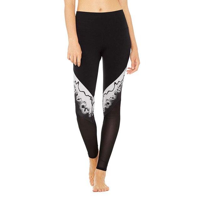 8ebb1bd6530ef Femmes blanc et noir imprimé couture yoga pantalon taille haute leggings  athlétique en plein air gym