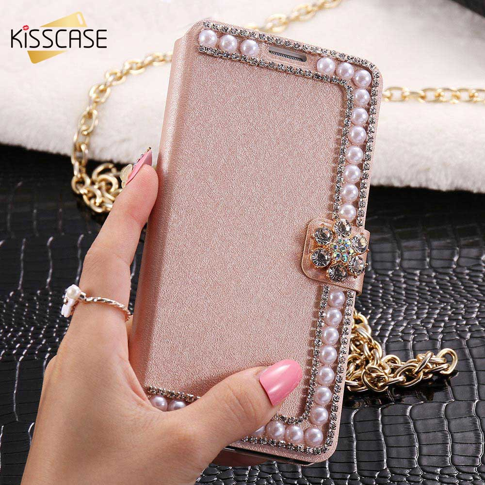KISSCASE Leather Case For Samsung Galaxy S6 S7 Edge Plus S4 S5 Note 3 4 5 Flip Case For iPhone 6 7 Case 6 6S 7 Plus Cover Shells