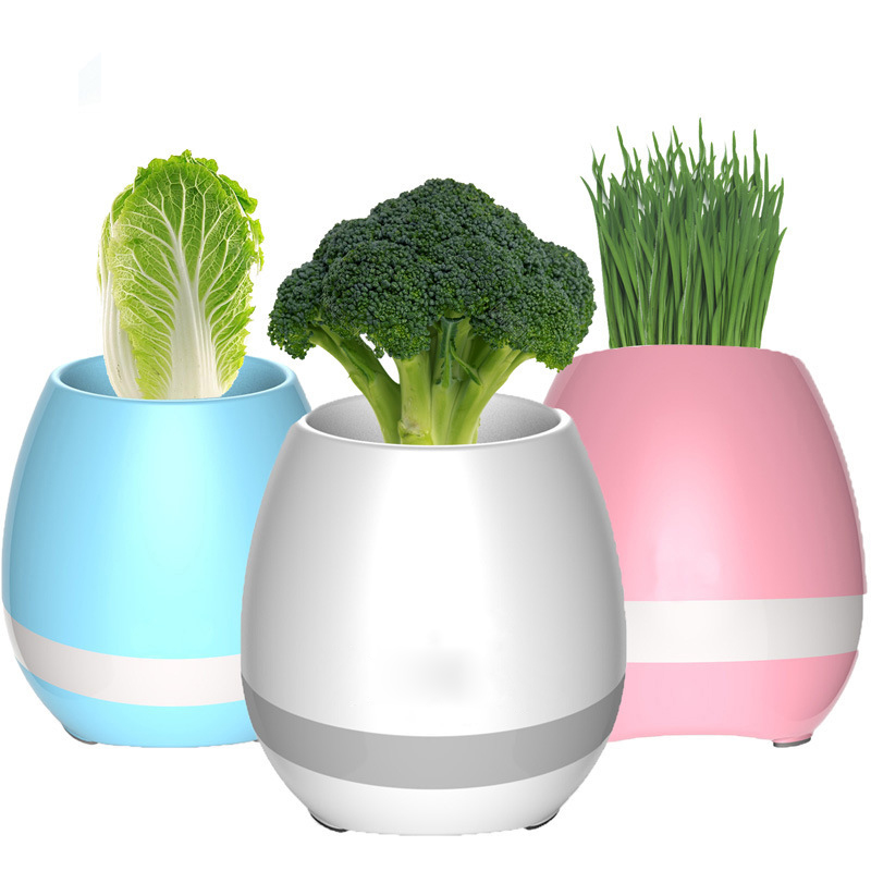 Smart Led Bluetooth Music Vase Speaker Plant Touch Sensing Flower