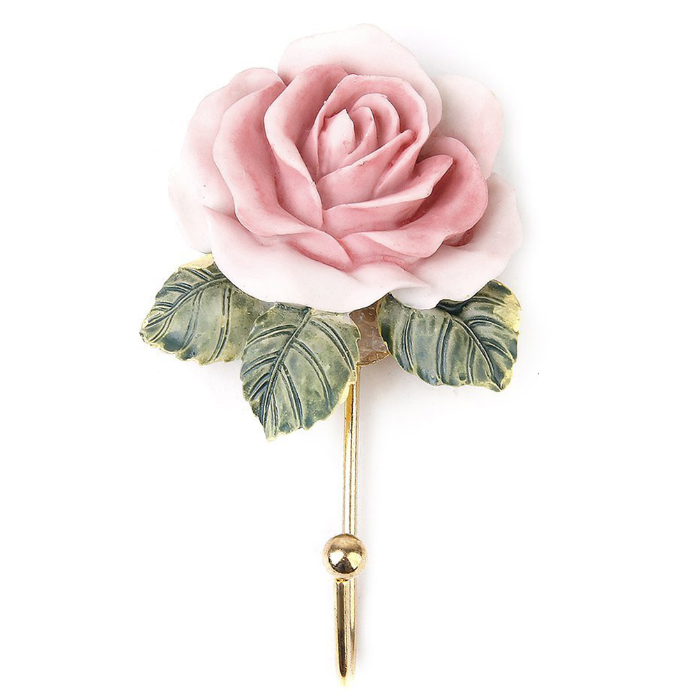 2Pcs Lovely Resin Coat Hat Robe Towel Hook Hanger Wall Mounted Rose Flower Kitchen Door Robe Hook Coats Clothes Clothing Holder