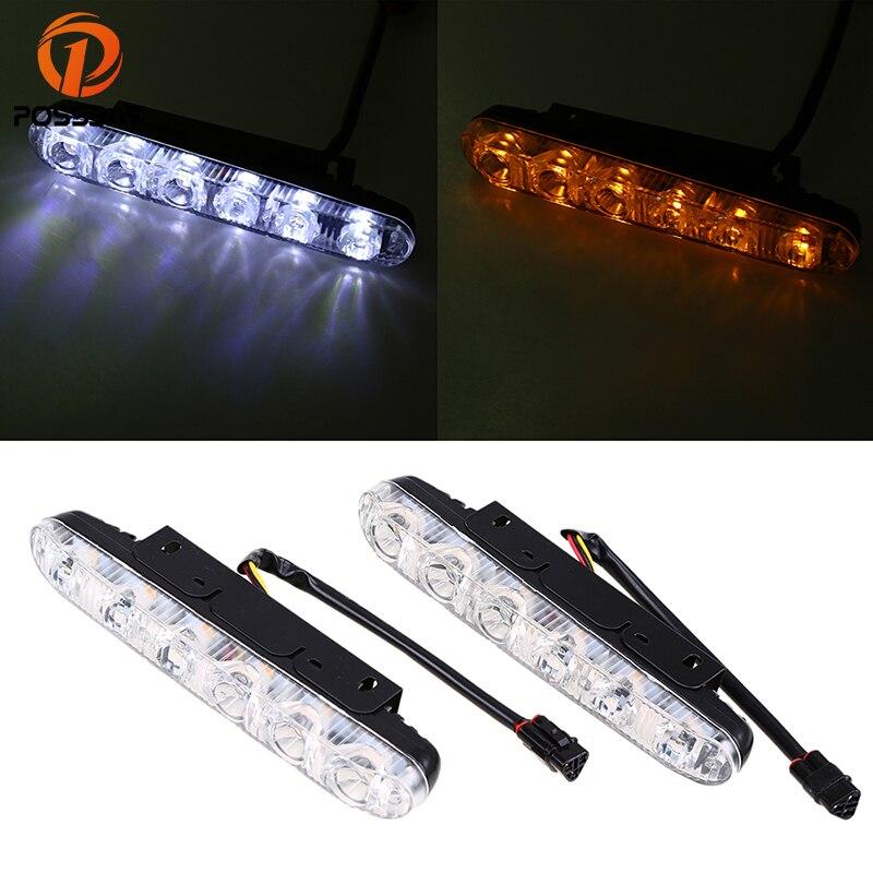 POSSBAY 2 Pcs 12V 12/18W LED Car Daytime Running Lights Work Light Bar 6/9LEDs White Yellow Waterproof Fog Lamps