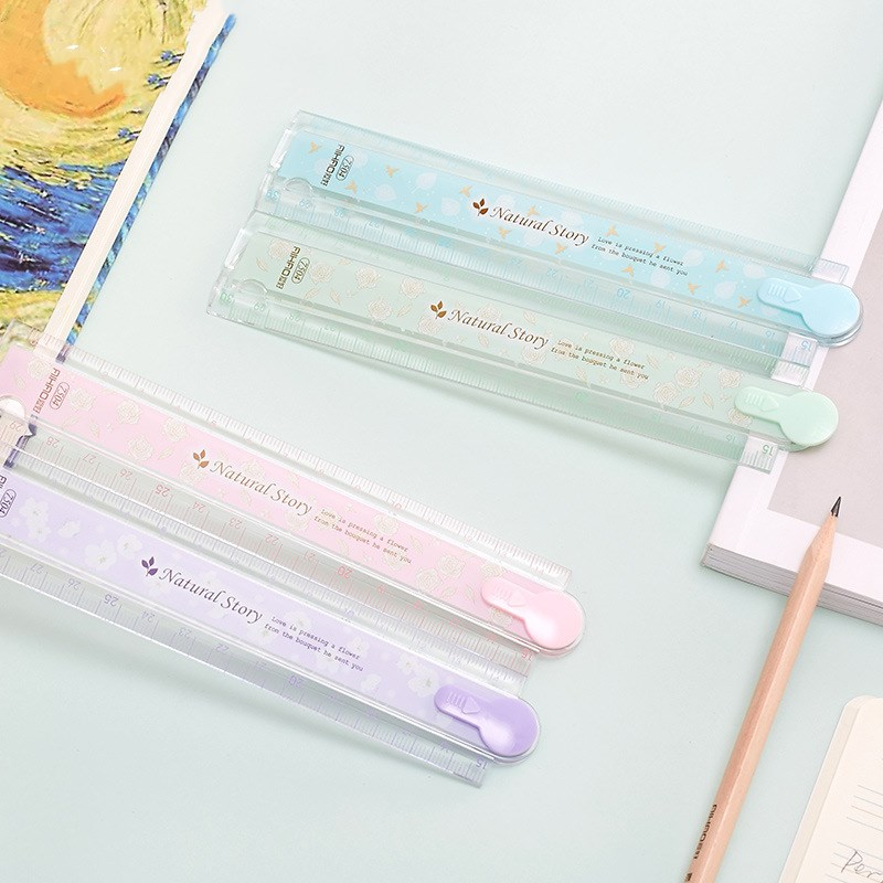 30cm Transparent Folding Plastic Ruler Drawing Template Stationery School Supplies Students Gift