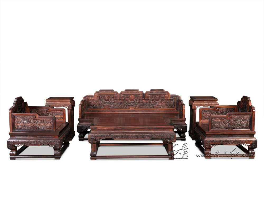 1+3 Seat Sofa Bed Suit Burma Rosewood Living Room Furniture 6-Pieces Set  Hotel Luxurious Chaise Lounge Solid Wood Throne Tables