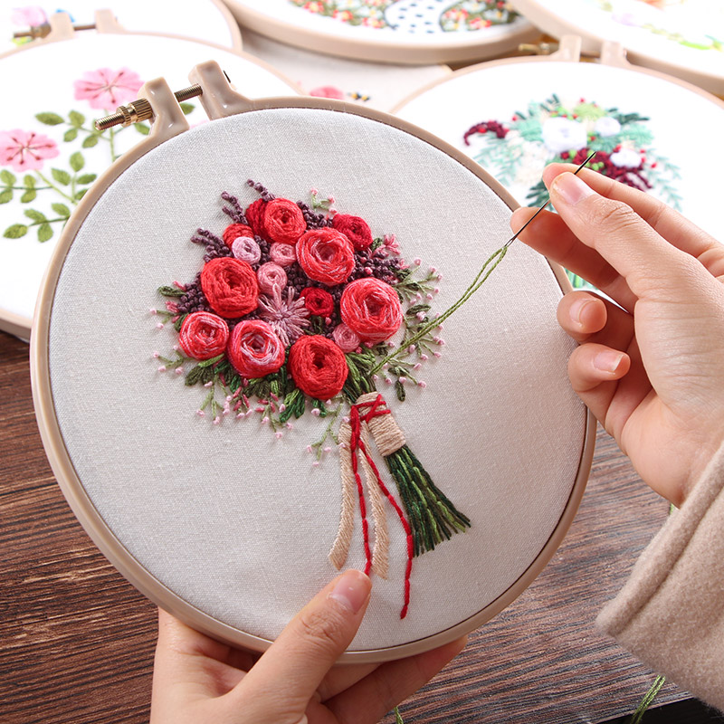 """Meian, New Sale""""Bouquet Flower""""Embroidery with Hoops Cross Stitch Embroidery Circle Set Art Craft Handy Sewing Home Decoration"""