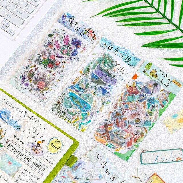 Calendario de papelería de otoño japonés Scrapbooking viaje flor diario decorativo Kawaii pegatinas lindas Scrapbooking