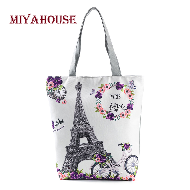 Candy Color Flower Print Shoulder Bags Female Leisure Tower Design Beach Bags Summer Style Canvas Tote Handbag