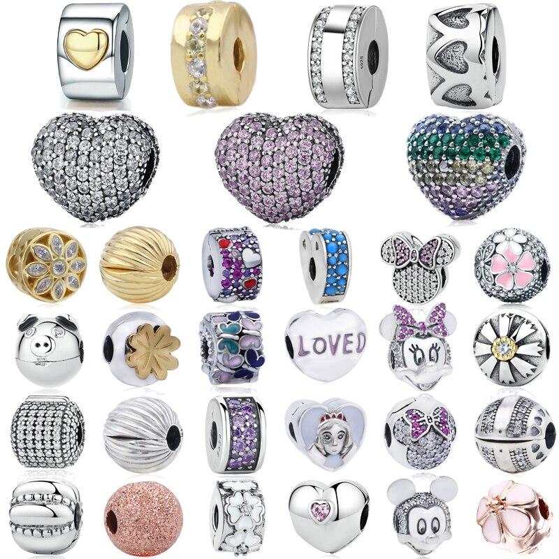 MYBEBOA Genuine 925 Sterling Silver 45 Types Loves Blooms Clips Lock Stopper Fit Original Pandora Bracelet DIY Charms Jewelry