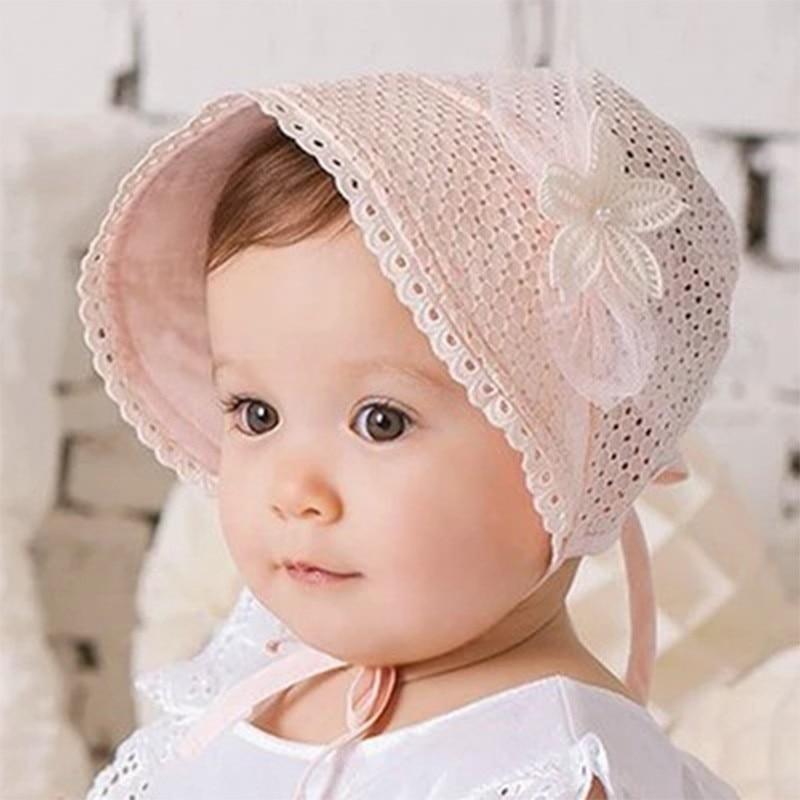 Cute Princess Hollow Bow Baby Girls Infant Hat Lace Summer Flower Cotton Sun Cap