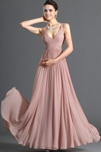 Cheap Long Bridesmaid Dress V Neck Floor Length Long Bridesmaid Dress Chiffon Maid Of Honor Dress