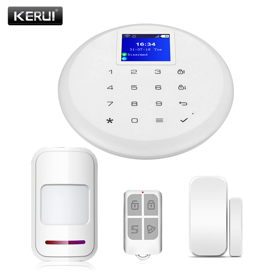New KERUI W17 WiFi 433MH Android IOS GSM Home Security Alarm System Sets with Wireless Door Window Sensor PIR Motion Detector