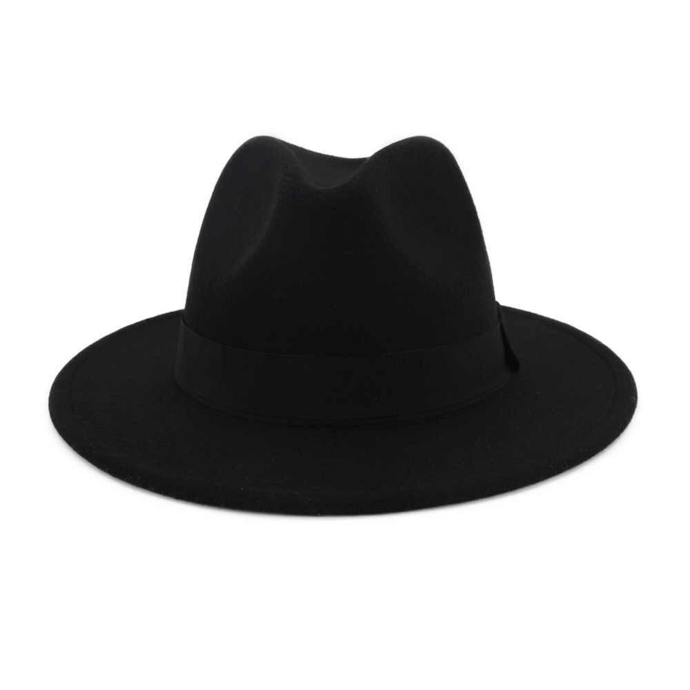 الشتاء الخريف تقليد الصوف النساء السيدات فيدورا أعلى الأحمر والأسود لصق الجاز قبعة الأوروبية الأمريكية جولة قبعات الرامي القبعات