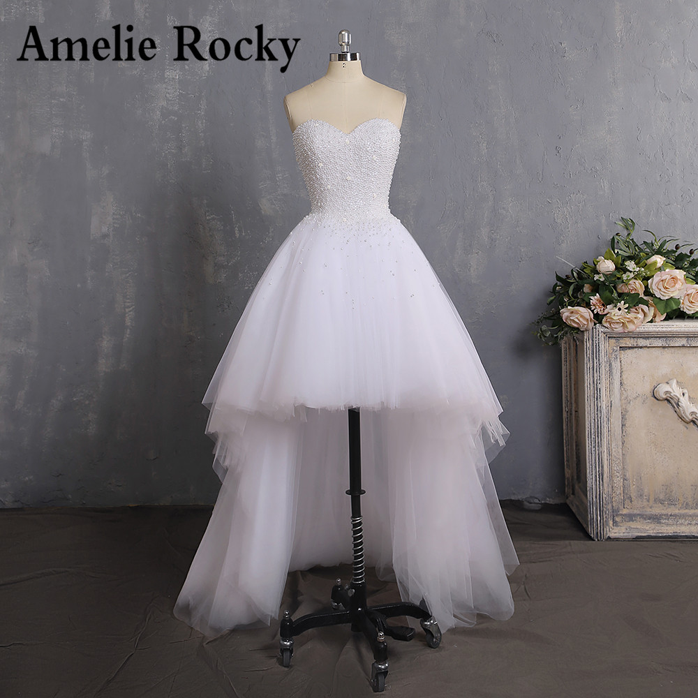 Vestidos De Novia 2019 Sweetheart Pearl High Low Wedding Dresses Imported Tulle Cheap Bride Dress Wedding Gown Robe De Mariage