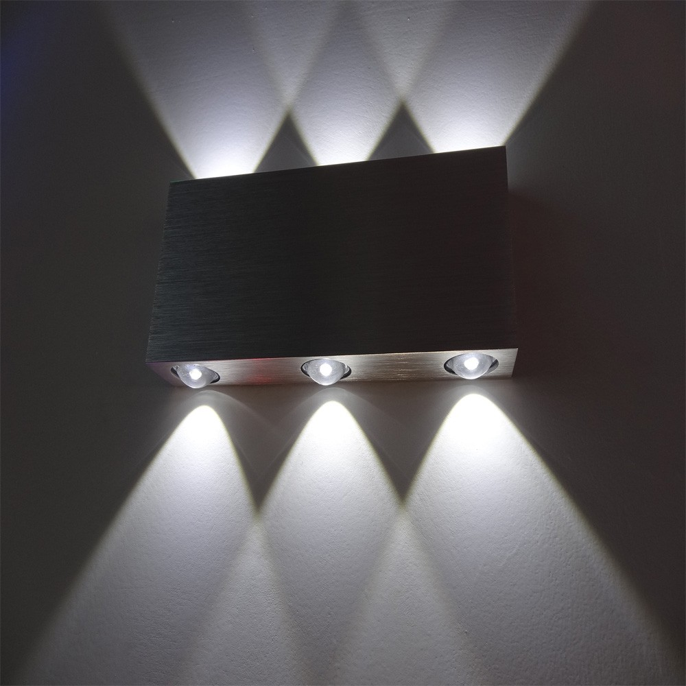 Holesale aluminum square light direct upward and downward 6w high power led bedside wall lights warm white